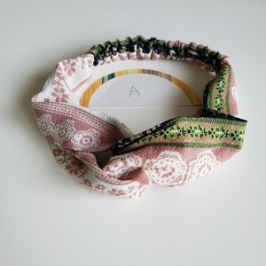 Pink Floral Twisted Turban Style Headband